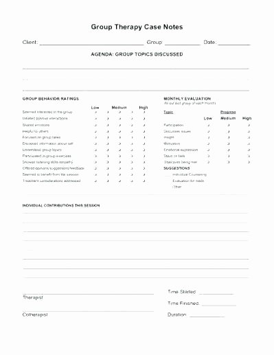 Group therapy Note Template Luxury Clinical Progress Notes Template