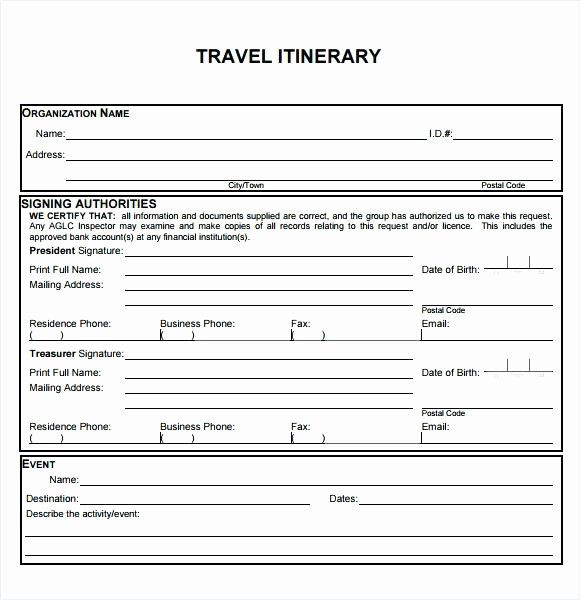 Group Travel Itinerary Template Awesome Business Trip Schedule Template Others Blank and Printable