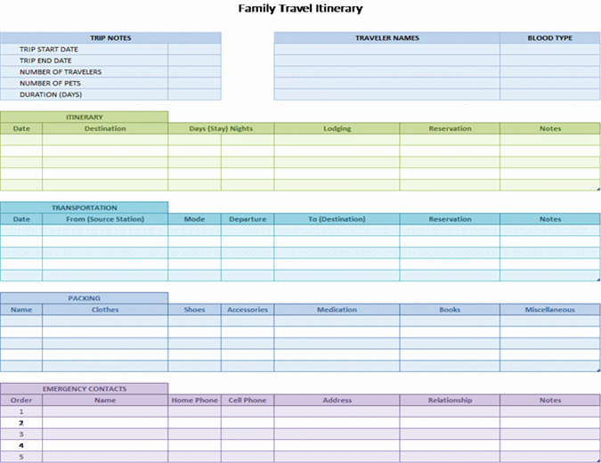 Group Travel Itinerary Template Beautiful Family Travel Itinerary