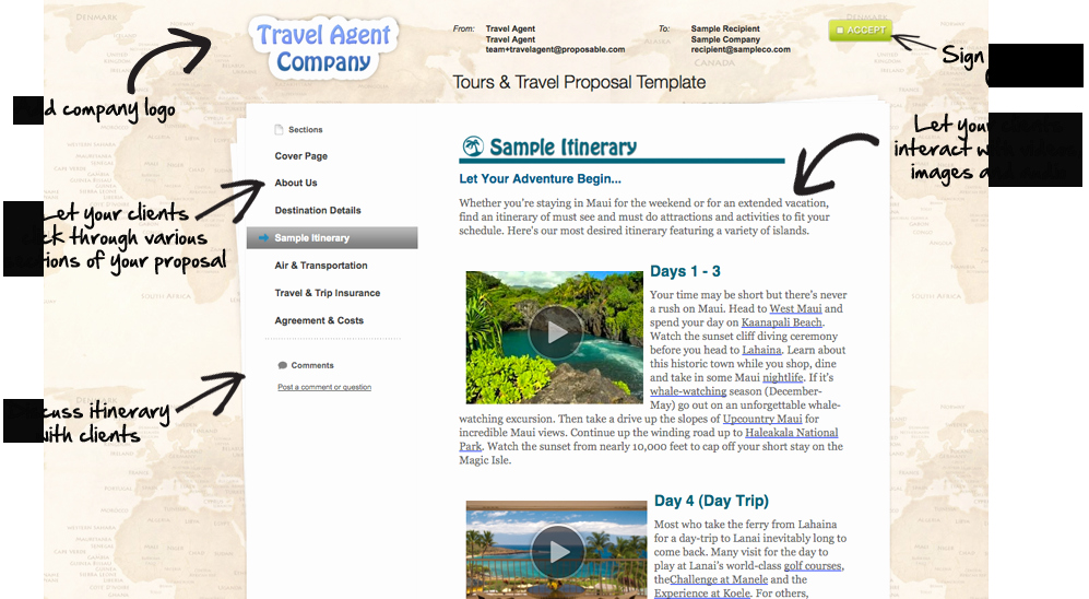 Group Travel Itinerary Template Elegant Selling tours & Travel the Easy Way the Proposable