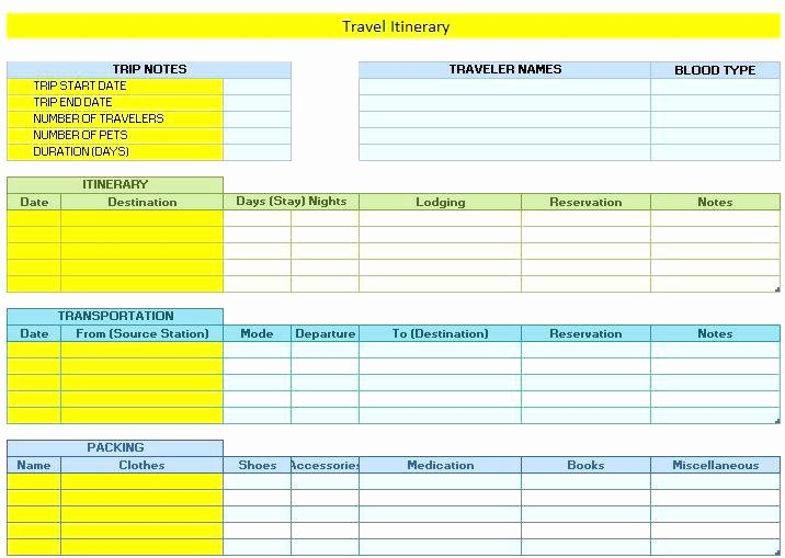 Group Travel Itinerary Template Fresh Vacation Itinerary Template Free Download Holiday Trip