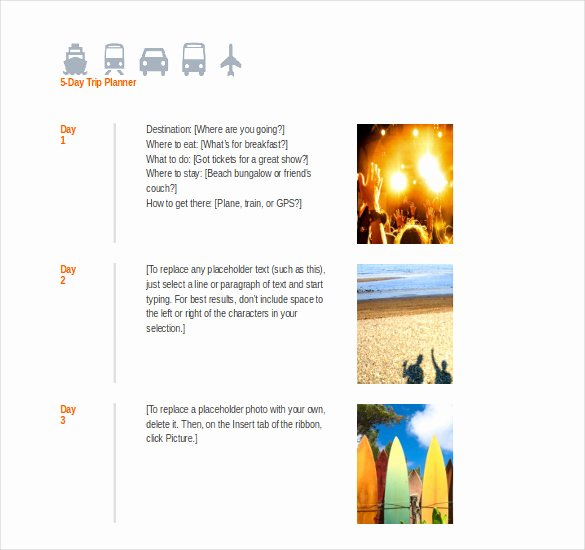 Group Travel Itinerary Template Inspirational Travel Itinerary Template