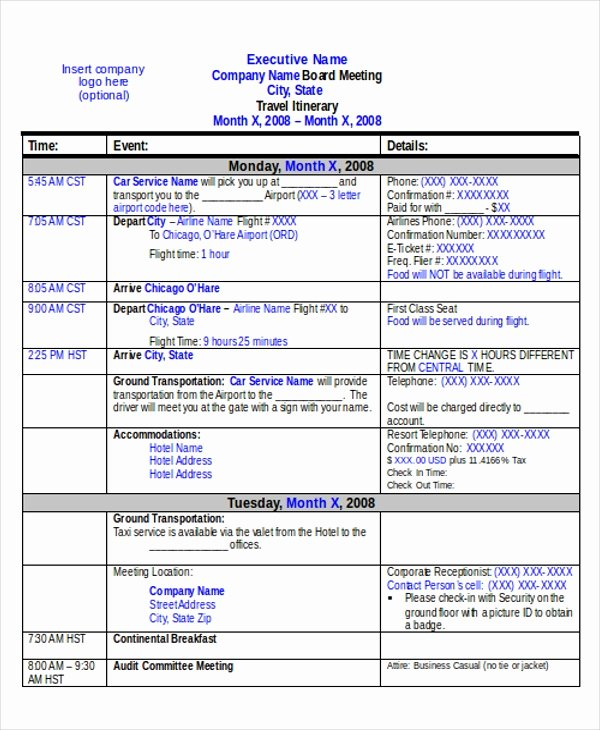Group Travel Itinerary Template New 21 Itinerary Templates In Word