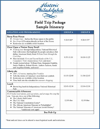 Group Travel Itinerary Template Unique Field Trips for Groups