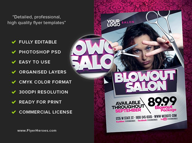 Hair Flyers Free Template Elegant Blowout Hair Salon Flyer Template Flyerheroes