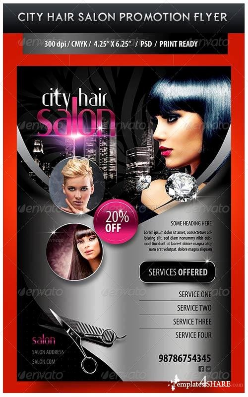 Hair Flyers Free Template Fresh Graphicriver City Hair Salon Promotional Flyer