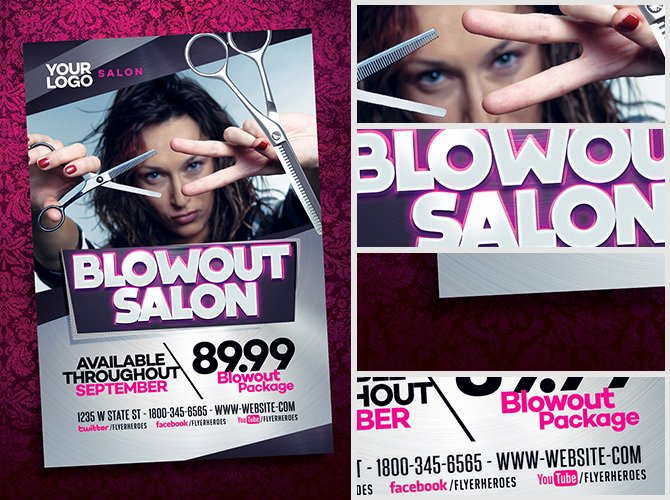 Hair Flyers Free Template New Blowout Hair Salon Flyer Template Flyerheroes