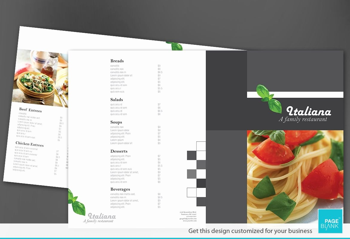 Half Fold Brochure Template Awesome Half Fold Brochure Template for Italian Restaurant order
