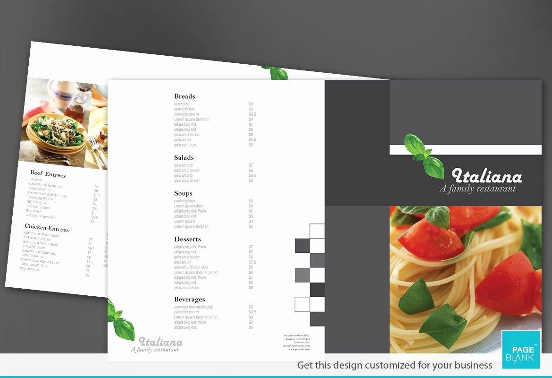 Half Fold Brochure Template Awesome Half Fold Brochure Template for Italian Restaurant order