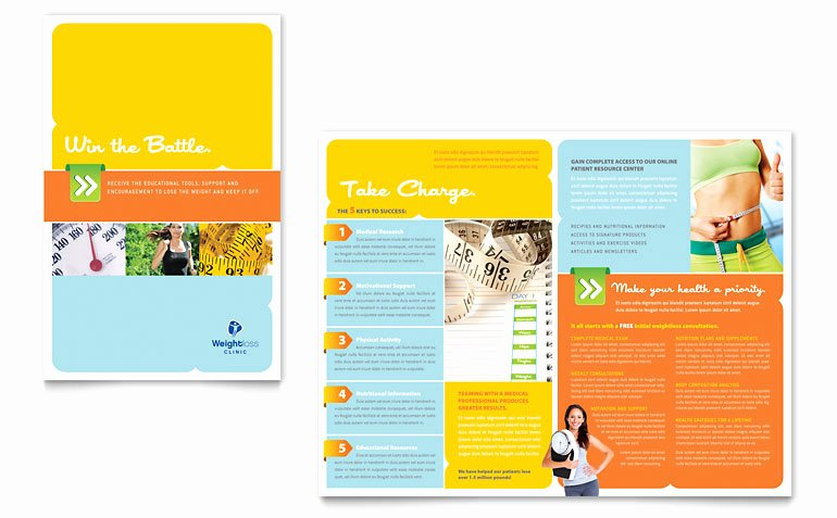 Half Fold Brochure Template Free Fresh Free Half Fold Brochure Template Weight Loss Clinic