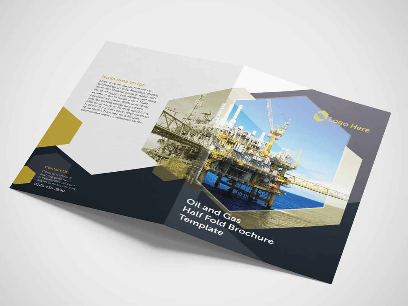 Half Fold Brochure Template New Half Fold Oil and Gas Brochure Template On Vectogravic Design