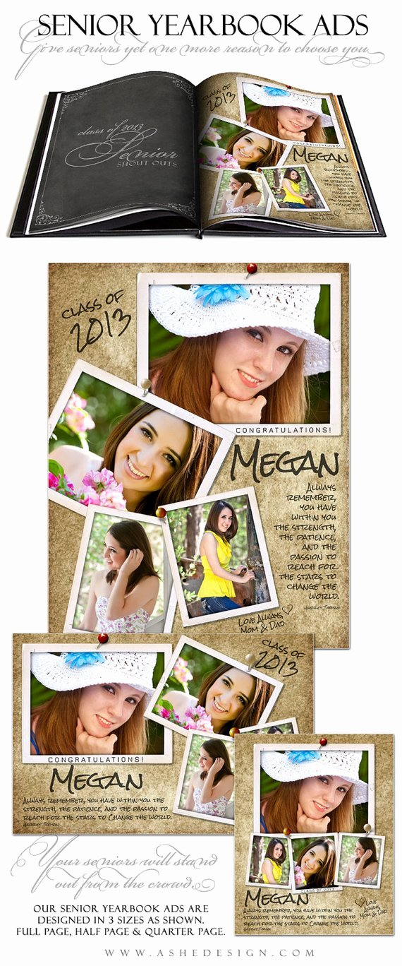 Half Page Ad Template Awesome Senior Yearbook Ad Sets for Graphers by ashedesign On
