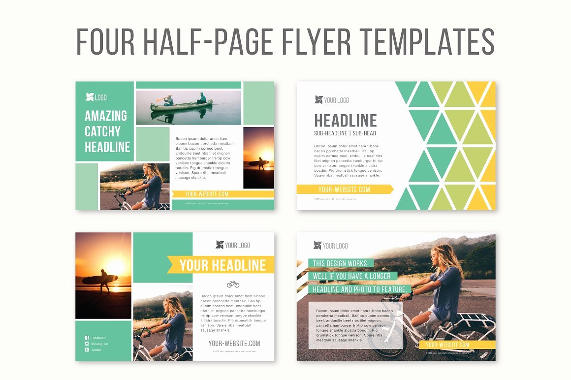 Half Page Brochure Template Beautiful Four Half Page Flyer Templates Templates Creative Market