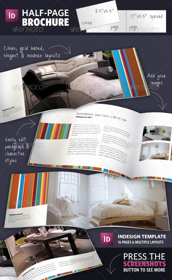 Half Page Brochure Template Luxury Half Page Brochure Indesign Template