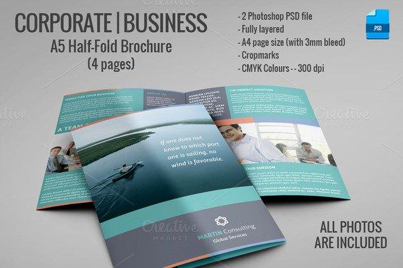Half Page Brochure Template Unique A5 Half Fold Brochure 4 Pages Brochure Templates On