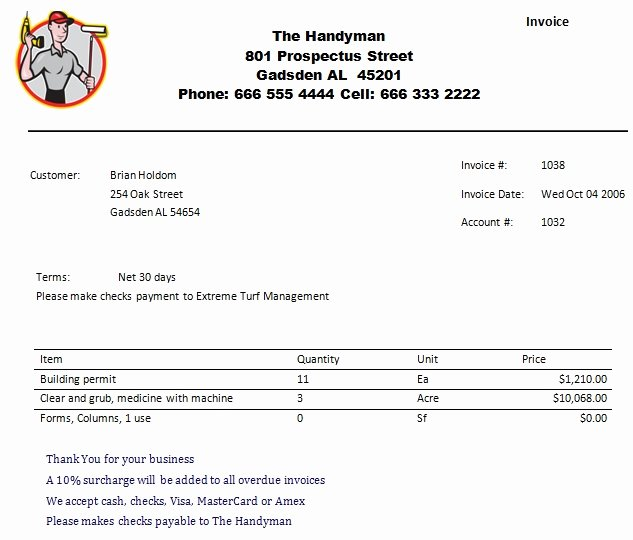 Handyman Work order Template Elegant 14 Practiced Handyman Invoice Templates Demplates
