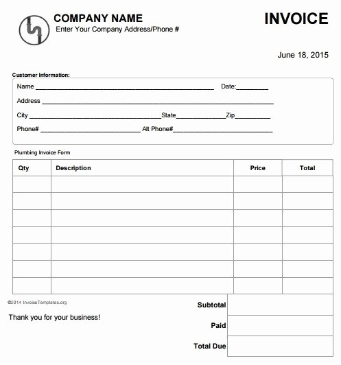 Handyman Work order Template Lovely 14 Free Plumbing Invoice Templates Demplates