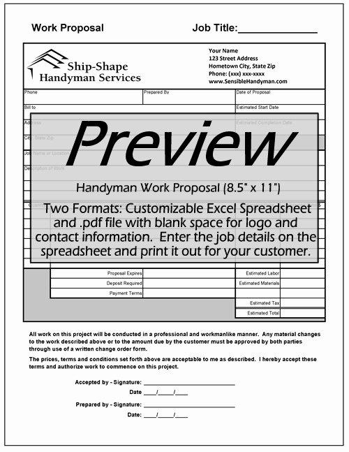 Handyman Work order Template Unique Free Handyman Invoice Work order Change order Mark Up