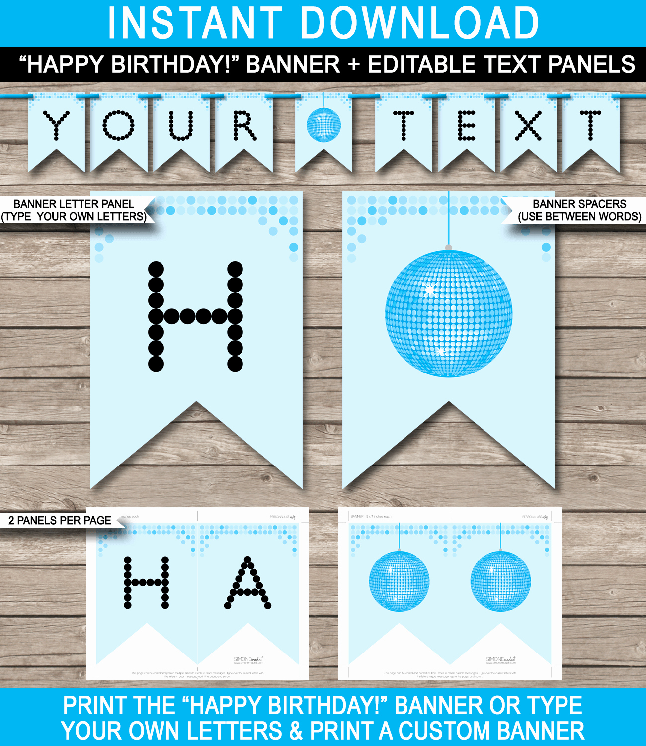 Happy Birthday Banner Template Awesome Dance Banner Template Blue Disco