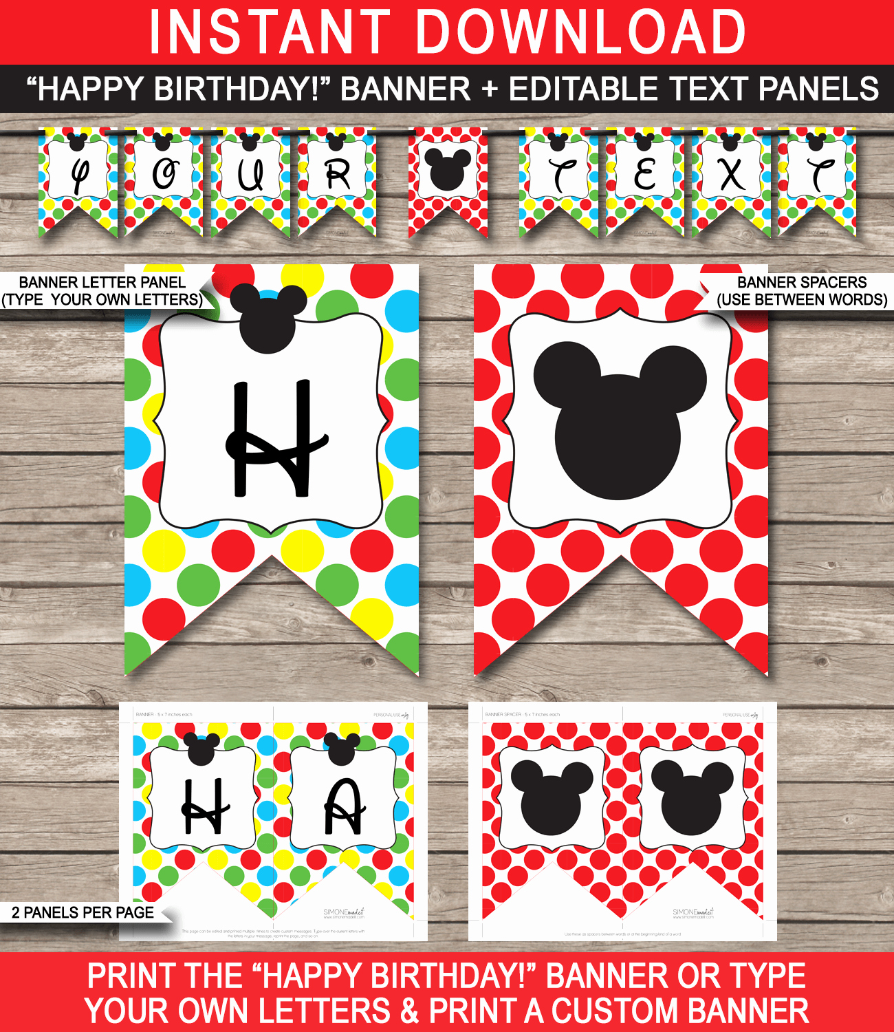 Happy Birthday Banner Template Beautiful Mickey Mouse Party Printables Invitations & Decorations