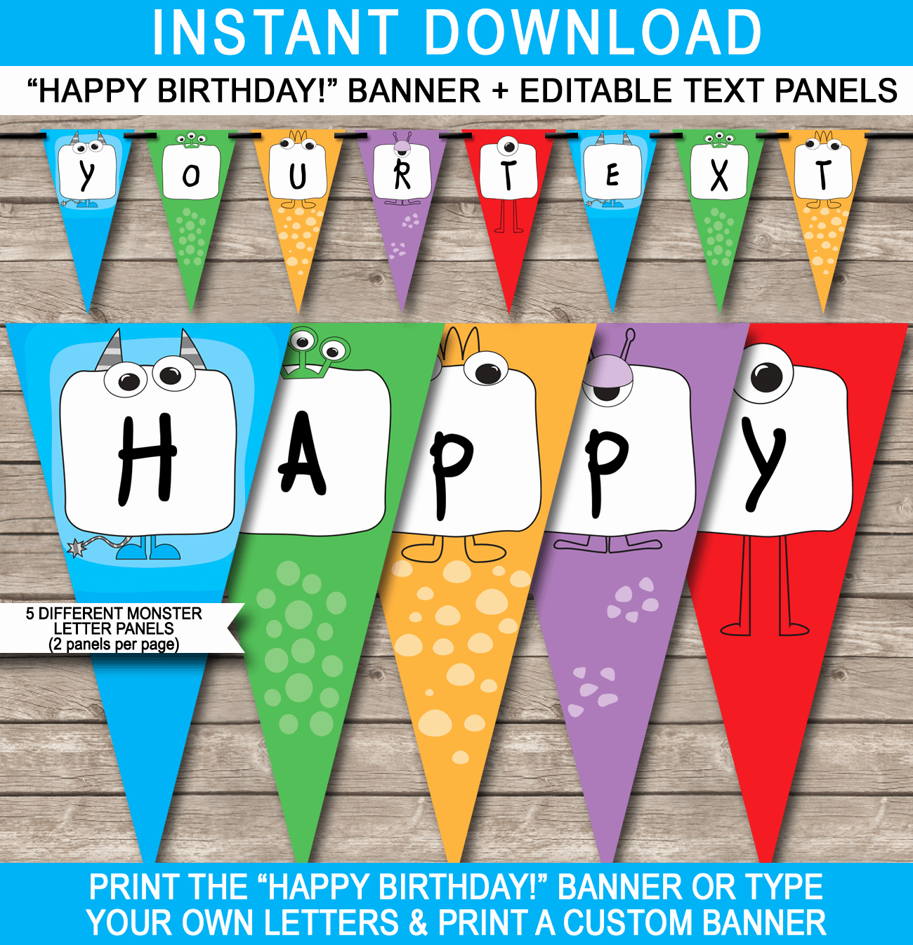 Happy Birthday Banner Template Beautiful Monster Party Banner Template Birthday Banner