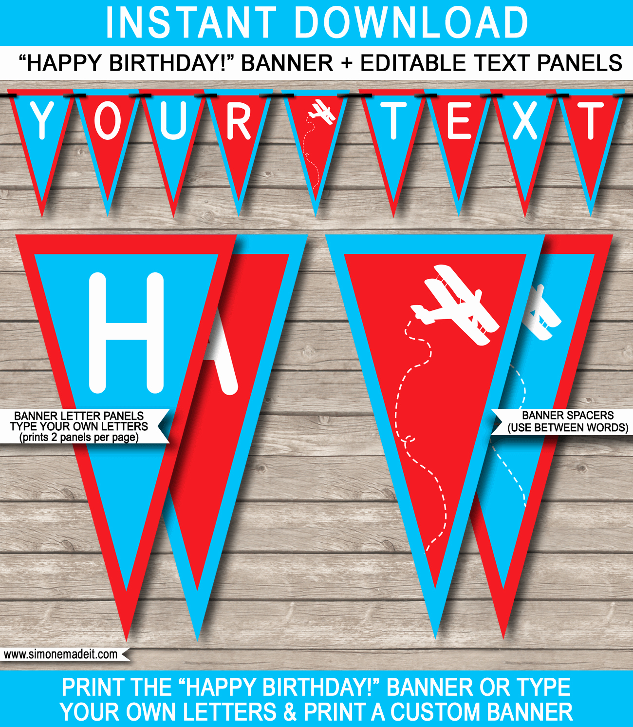 Happy Birthday Banner Template Lovely Airplane Birthday Party Banner Template