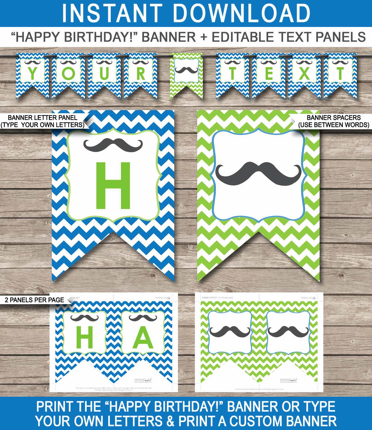 Happy Birthday Banner Template Lovely Mustache Party Banner Template