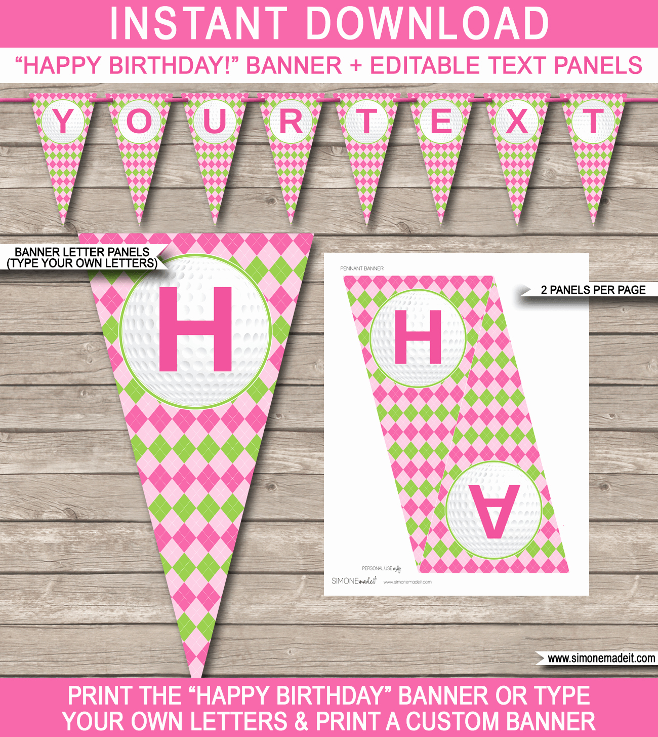 Happy Birthday Banner Template Luxury Girls Golf Birthday Banner Template