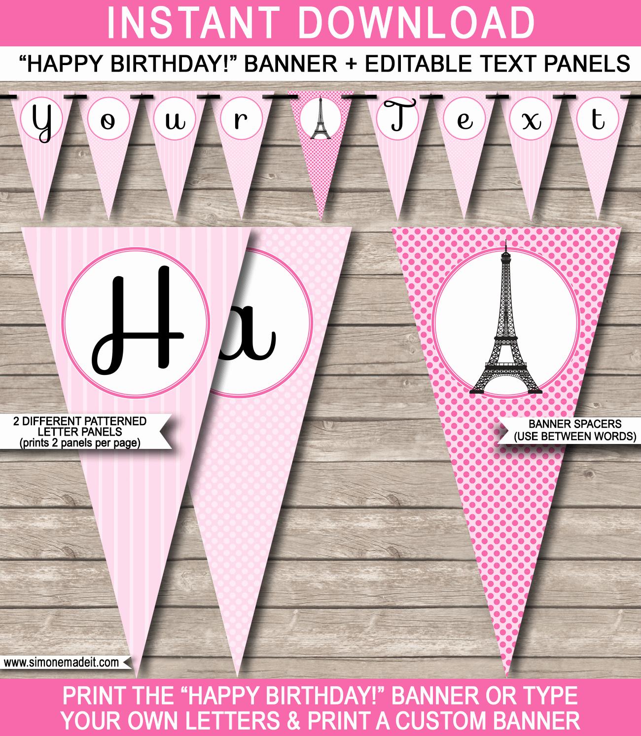 Happy Birthday Banner Template New Paris Party Banner Template