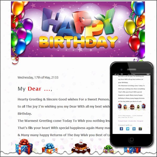Happy Birthday Email Template Awesome Free Premium HTML Email Templates