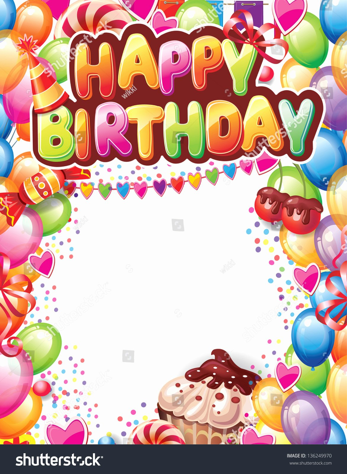 Happy Birthday Email Template Beautiful Template for Happy Birthday Card Stock Vector Illustration