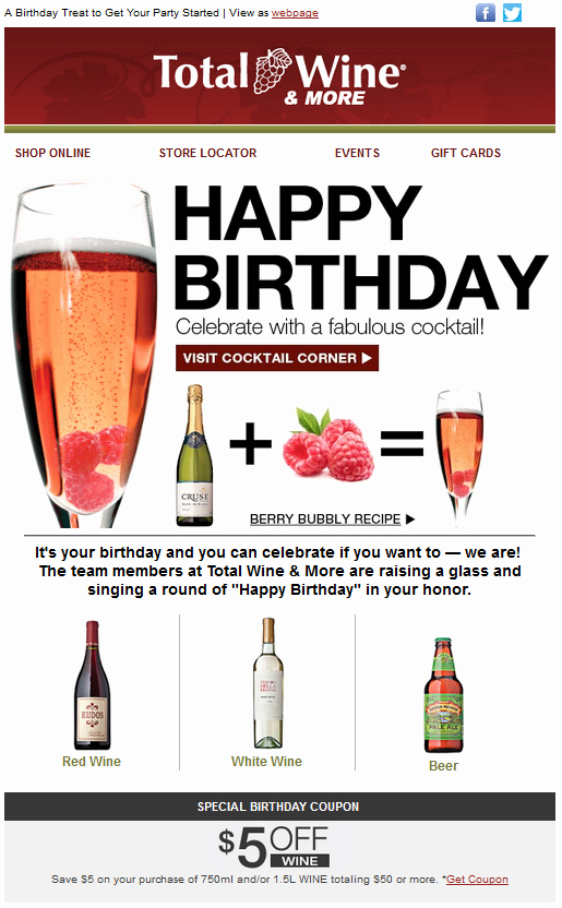 Happy Birthday Email Template Best Of total Wine Birthday Emails