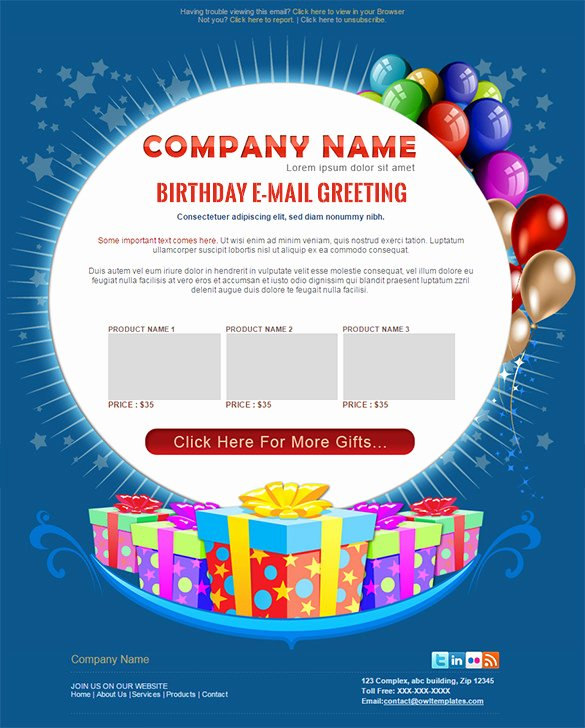 Happy Birthday Email Template Fresh 9 Happy Birthday Email Templates – HTML Psd Templates