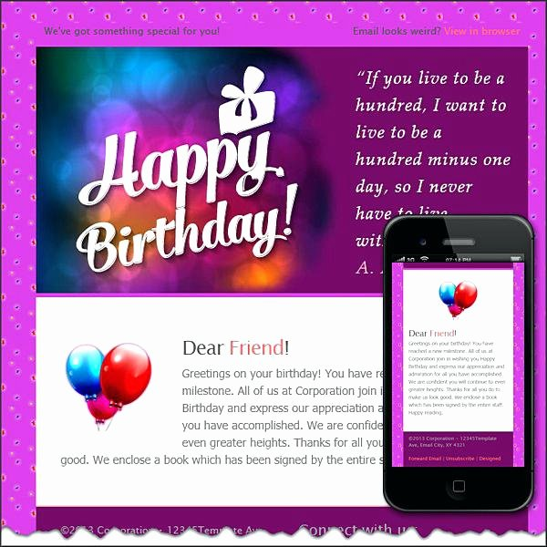 Happy Birthday Email Template Fresh Corporate Birthday Email Template – Vitaminacfo