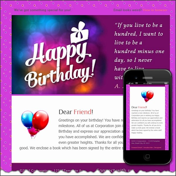 Happy Birthday Email Template New Happy Birthday