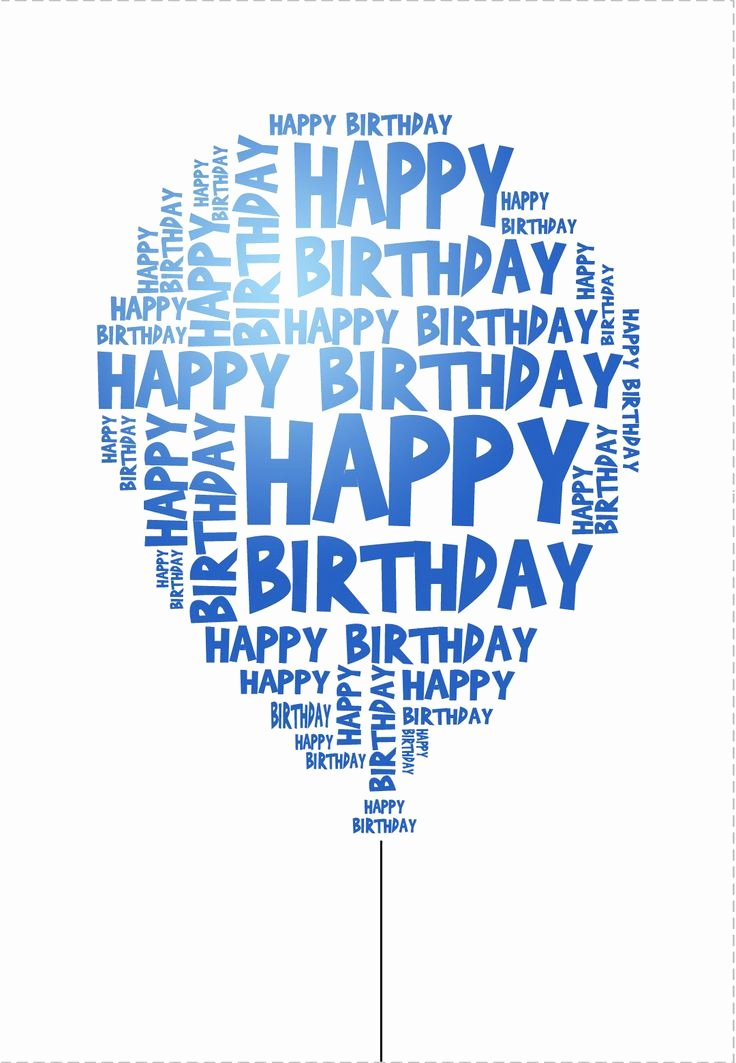 Happy Birthday Template Word Elegant Blue Birthday Balloon