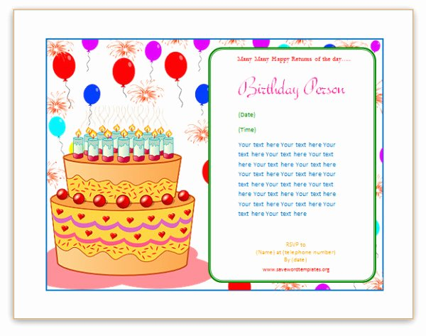 Happy Birthday Template Word Unique Birthday Card Template