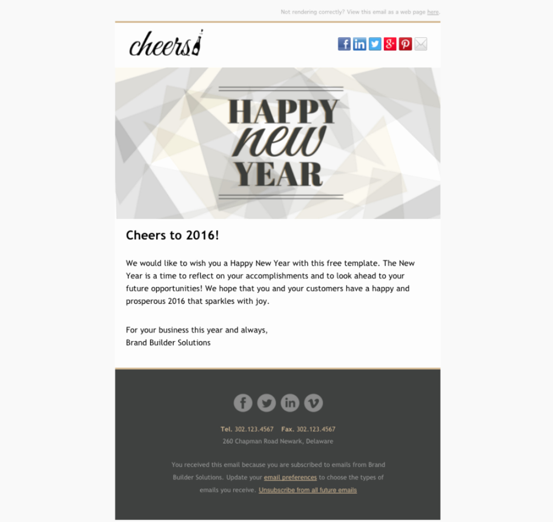 Happy New Year Email Template Elegant Cheers Happy New Year Email