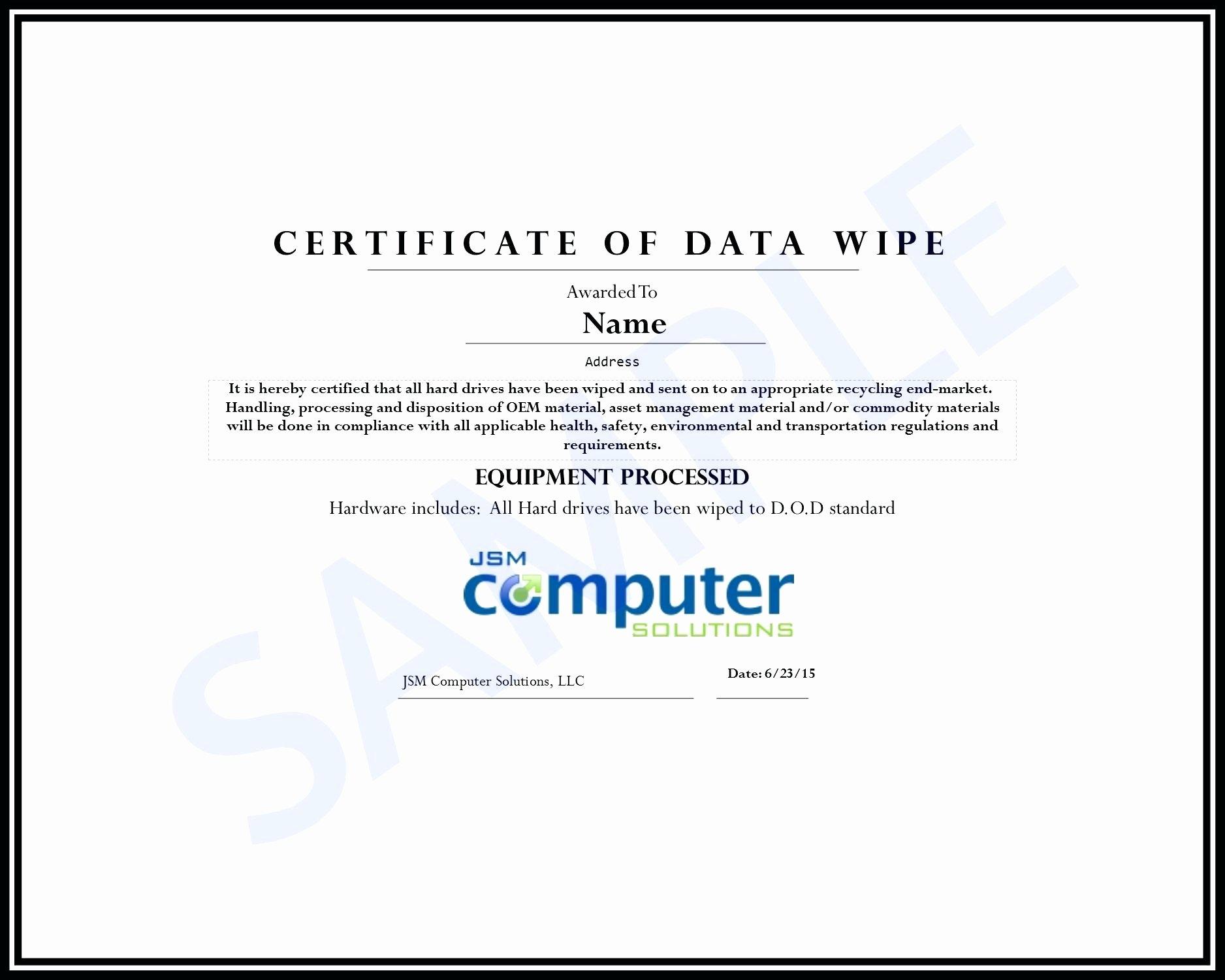Hard Drive Destruction Certificate Template Awesome Hard Drive Certificate Destruction Template Certificate