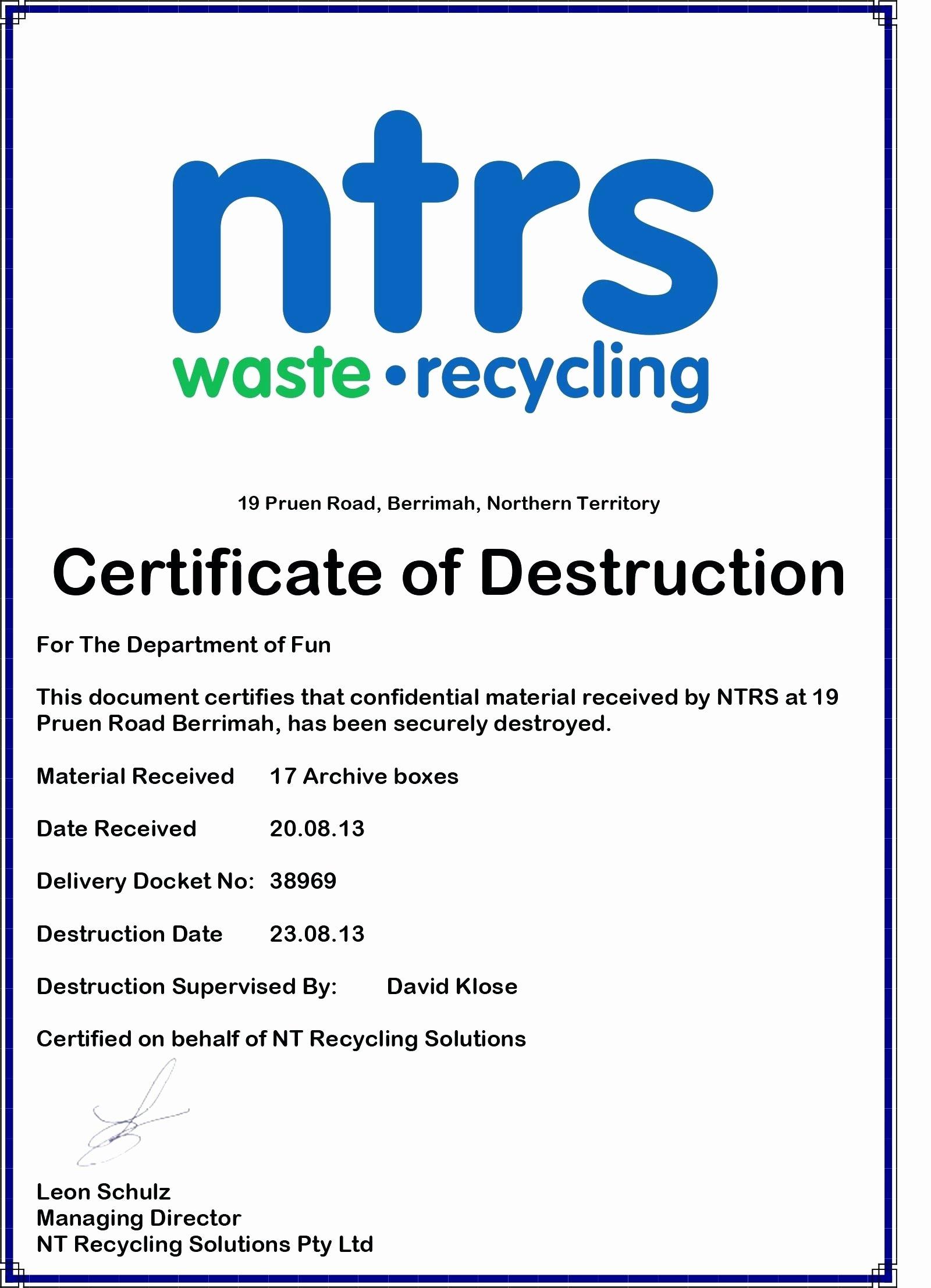 Hard Drive Destruction Certificate Template Beautiful Hard Drive Certificate Destruction Template Certificate