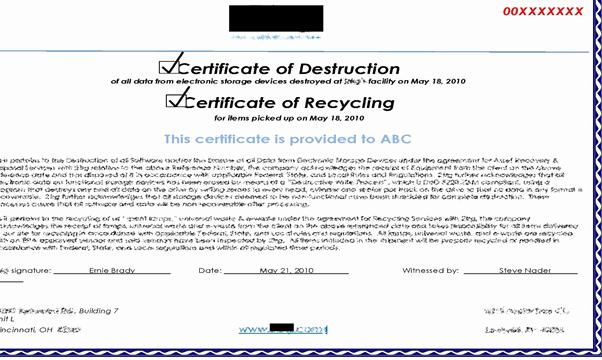 Hard Drive Destruction Certificate Template Best Of Ptia A Exam 220 902 Sub Objective 3 6 Data Destruction