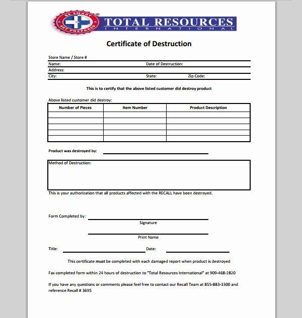 Hard Drive Destruction Certificate Template Elegant 21 Of Records Destruction Log Template