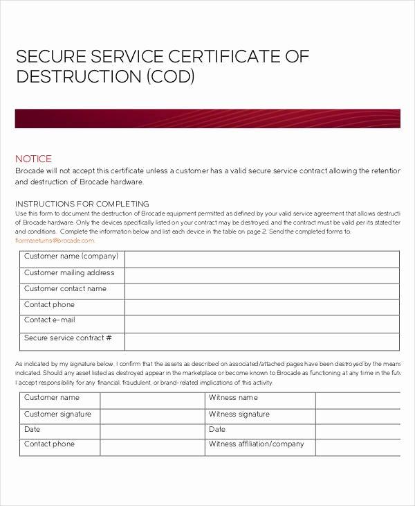 Hard Drive Destruction Certificate Template Elegant Certificate Destruction Template 12 Pdf Word Ai