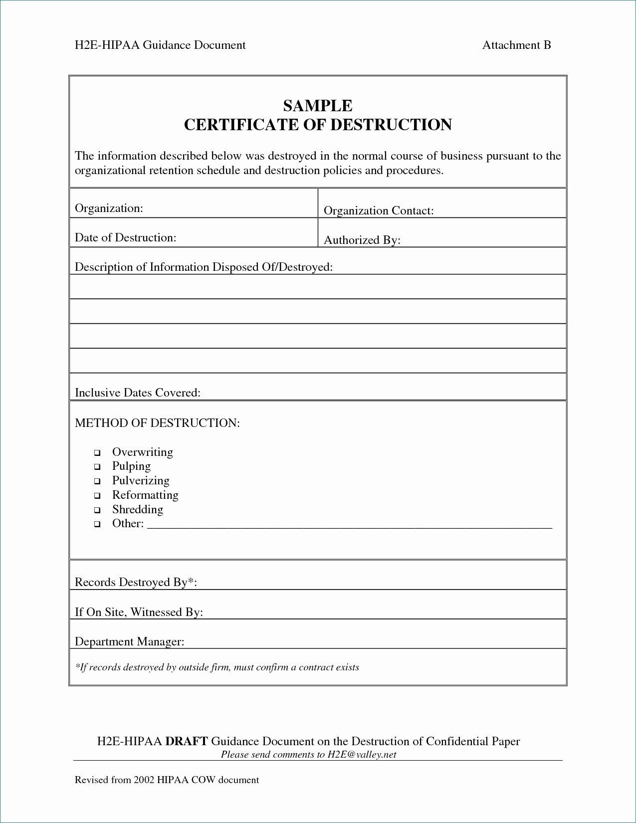 Hard Drive Destruction Certificate Template Inspirational Beautiful Gallery Hard Drive Certificate Destruction