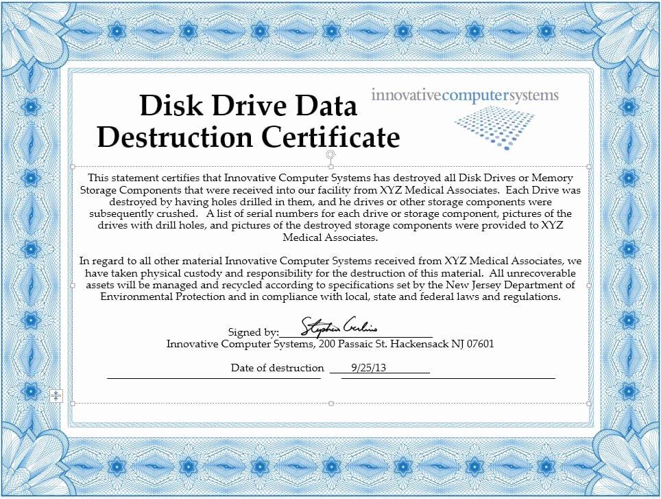 Hard Drive Destruction Certificate Template Inspirational Innovative Puter Systems