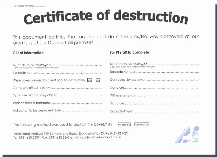 Hard Drive Destruction Certificate Template Lovely 96 Free Certificate Destruction Template Sample
