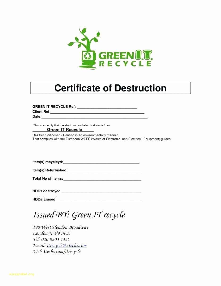 Hard Drive Destruction Certificate Template Lovely Certificate Destruction Template