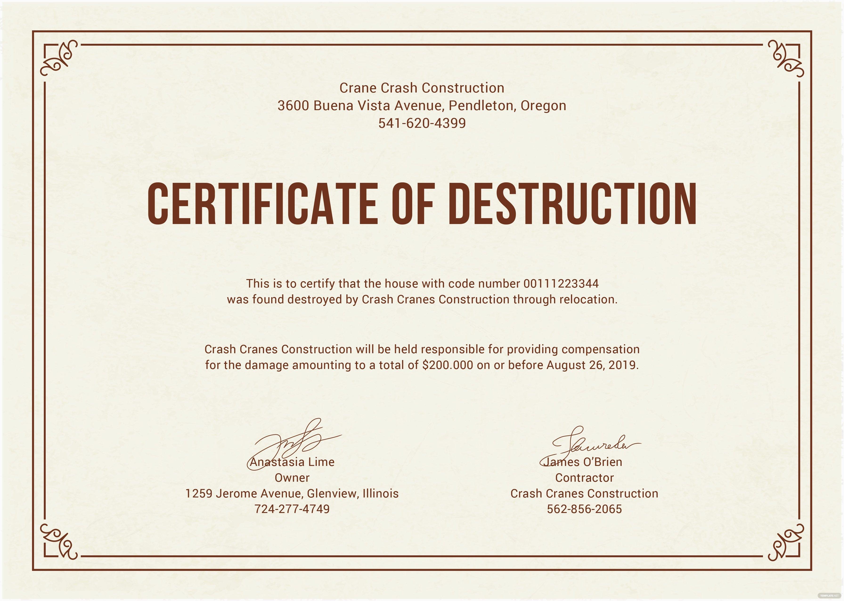 Hard Drive Destruction Certificate Template Lovely Free Certificate Of Destruction Template In Adobe