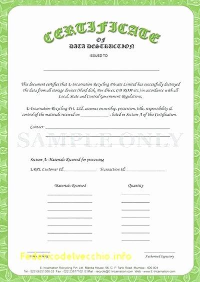 Hard Drive Destruction Certificate Template Lovely to Destruction Certificate Template Data – Chaseevents