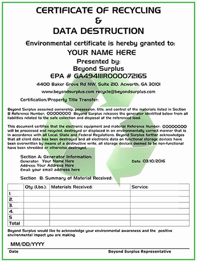 Hard Drive Destruction Certificate Template Luxury atlanta Electronics Recycling & Free Puter Disposal
